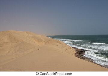 namib, emparedado, litoral, puerto, desierto