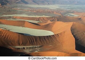 namib, luftaufnahmen, deadvlei, wüste, namibia, aus, ansicht