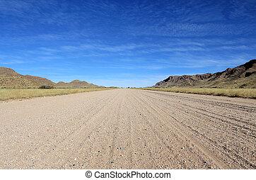 namib, montañas, herboso, sabana, plano de fondo, camino,...