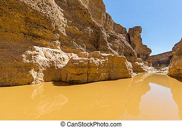 namib, scarp, eau, canyon, sesriem, désert