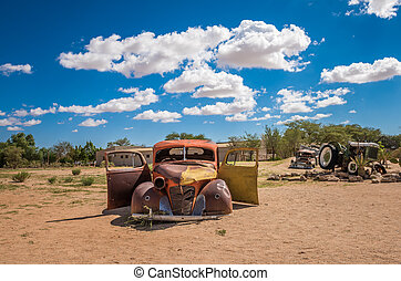 namib, verlassenes auto, solitär, namibia, wüste