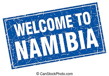 Namibia blue square grunge welcome to stamp