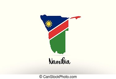 Namibia country flag inside map contour design icon logo