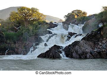 namibia, epupa, umrandungen, angola, wasserfälle