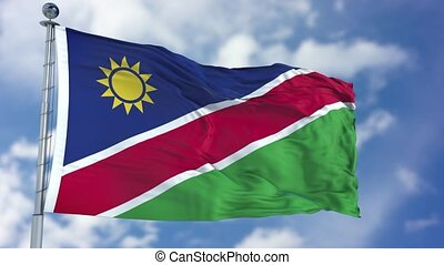 Namibia Flag in a Blue Sky. Use this clip loud and proud to...