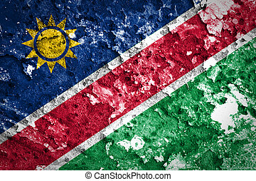 Namibia Flag painted on grunge wall