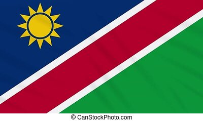 Namibia flag waving cloth, ideal for background loop