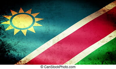 Namibia Flag Waving, grunge look