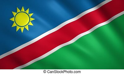 Namibia flag waving in the wind