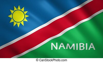 Namibia flag with the name of the country