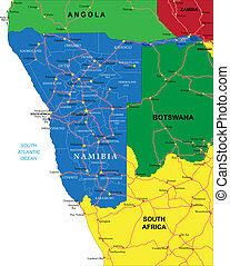 Highly detailed vector map of Namibia with administrative regions, main cities and roads.