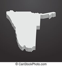 Namibia map in gray on a black background 3d