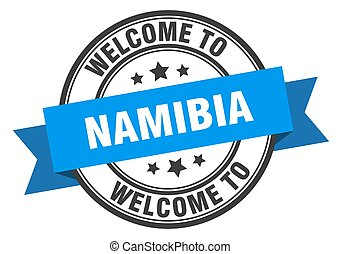 Namibia stamp. welcome to Namibia blue sign