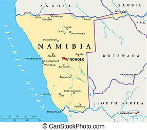 Namibia Political Map - Political map of Namibia with...