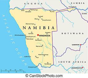 namibia, politisch, landkarte