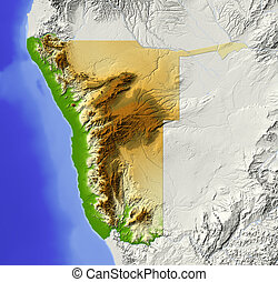 Namibia, shaded relief map - Namibia. Shaded relief map. ...