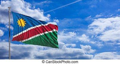 Namibia waving flag on blue sky. 3d illustration