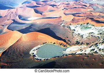 namibian, dune, con, acqua