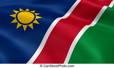 Namibian flag in the wind