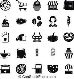 namiddag hapje, iconen, set, eenvoudig, stijl