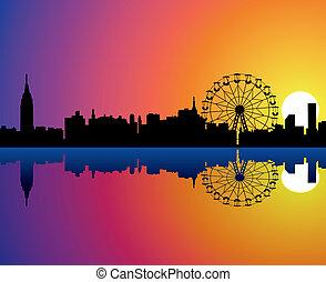 namočit, město, vektor, odraz, grafické pozadí