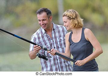 namorada, quadro, pescador