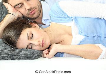namorada, seu, sono, homem, observar