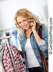 namorada, telefone mulher, loja, falando