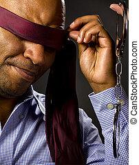 namorado, blindfolded, para, bdsm, com, algemas