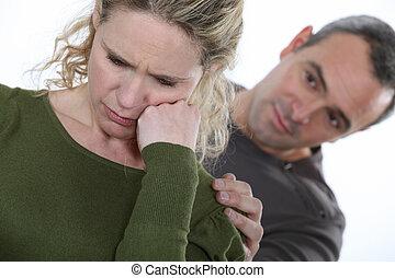 namorado, consolar, mulher
