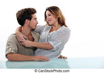 namorado, mulher, colo, dela, sentando