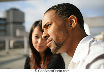 namorado, mulher, dela, tentando, conversa, indiferente