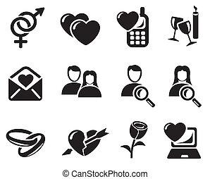 namorando, amor, ícones