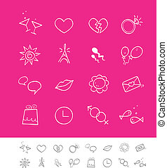 namorando, &, social, amor, ícones