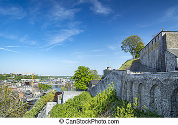Namur, city in Belgium by river Meuse, Walloon region, view ...