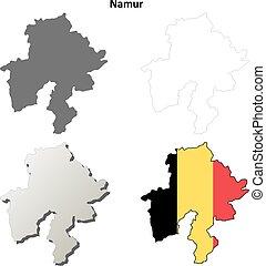 Namur outline map set - Belgian version