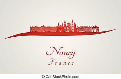 Nancy skyline in red