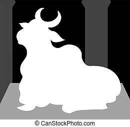 Nandi	 - Illustration of silhouette of Nandi's statue