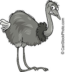 nandu, avestruz, caricatura, ilustración, pájaro