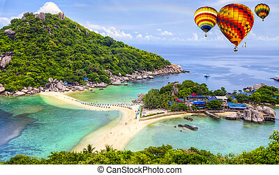 Nangyuan island, Thailand - Nangyuan island with rainbow and...