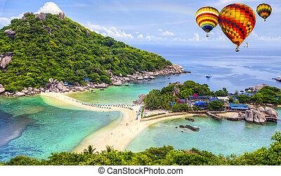 Nangyuan island,Thailand - Nangyuan island with rainbow and...