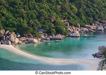 nangyuan, luz, mañana, isla, Tailandia, playa