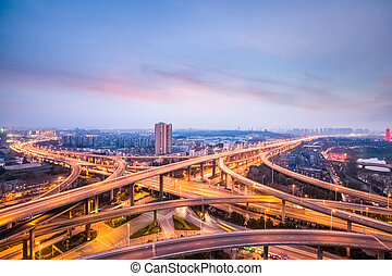 nanjing city interchange in nightfall, road junction of...