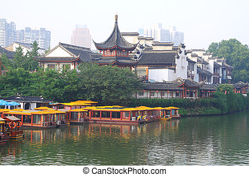 Nanjing Confucius Temple and the boat on the River - Golden...
