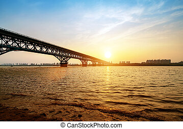 nanjing, flod yangtze, bro