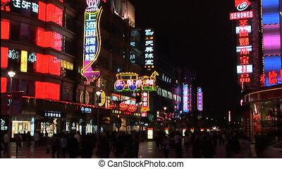 Nanjing Road - Neon lights on Nanjing Road, pedestrian mall,...