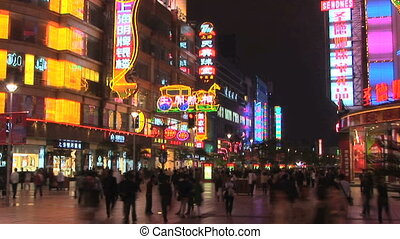 Nanjing Road, time lapse - Neon lights on Nanjing Road,...