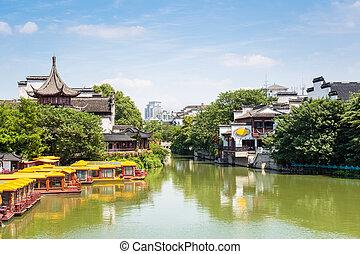 nanjing scenery of confucius temple - nanjing scenery of the...