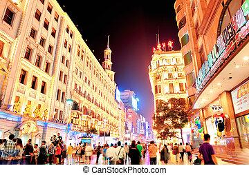 nanjing, straat, in, shanghai