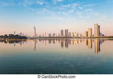 nanjing xuanwu lake of beautiful scenery - nanjing skyline...